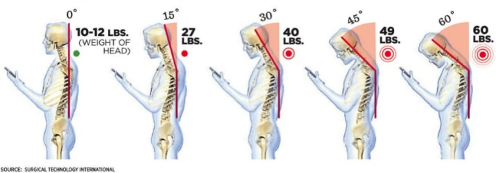 Weight of your head when held at different degrees