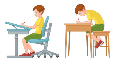 Student boy writing. Incorrect and correct back sitting position.